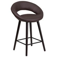 24'' High Contemporary Cappuccino Wood Counter Height Stool in Brown Vinyl