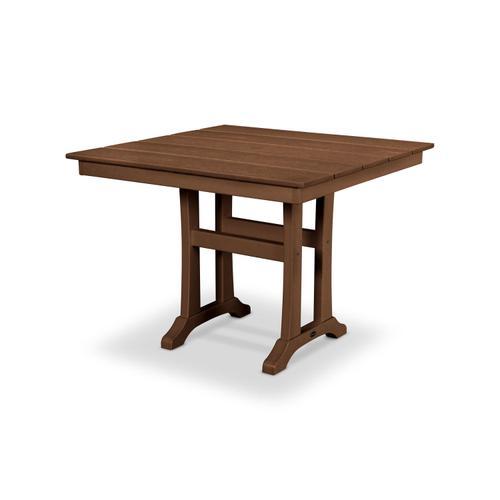 "Teak Farmhouse Trestle 37"" Dining Table"