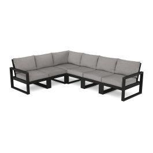 Polywood Furnishings - EDGE 6-Piece Modular Deep Seating Set in Black / Grey Mist