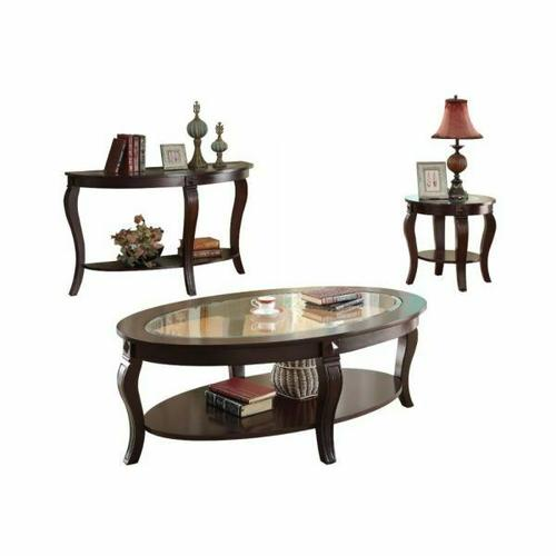 ACME Riley Coffee Table - 00450 - Walnut & Clear Glass