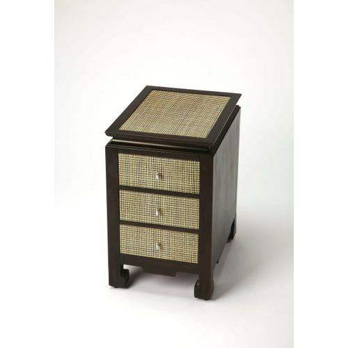 This distinctive chairside table evokes the spirit of Asian design from which it is inspired. Expertly crafted from mahogany wood solids and wood products, its clean modern lines and chow legs make it a beautiful addition in most any contemporary space. I