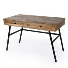 See Details - This modern industrial desk is a stylish addition to any office, living room, or bedroom. This mixed material desk boasts a beautifully grained solid mango wood top in a natural finish supported by a sturdy iron base with splayed legs. Its moderate size makes it a great choice for remote workers and students, and it features two ample storage drawers with black iron knobs. Ideal for use in an office, living room, or bedroom Solid wood, engineered wood, and iron construction Natural wood and black iron finish Rectangular top measures 45 'W, 24 'D Interior drawer dimensions: 20 'W, 16 'D, 3 'H Finished on all four sides to float within any space Partial assembly required