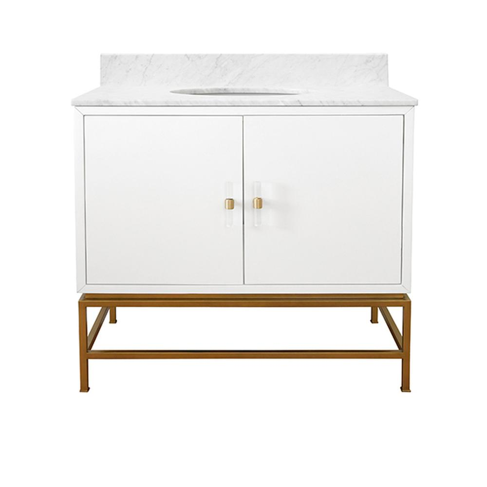 See Details - Amp Up Your Style Power With Our Extraordinary Clifford Bath Vanity. This Mid Century Mod Stunner Features A Matte White Lacquer Cabinet With Lucite & Antique Brass Door Pulls. the Case Floats Atop A Sturdy, Antique Brass Metal Base and Includes Luminous White Carrara Marble Top & Backsplash, Plus A White Porcelain Sink.