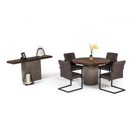 VIG Furniture - Modrest Renzo Modern Round Oak & Concrete Dining Table