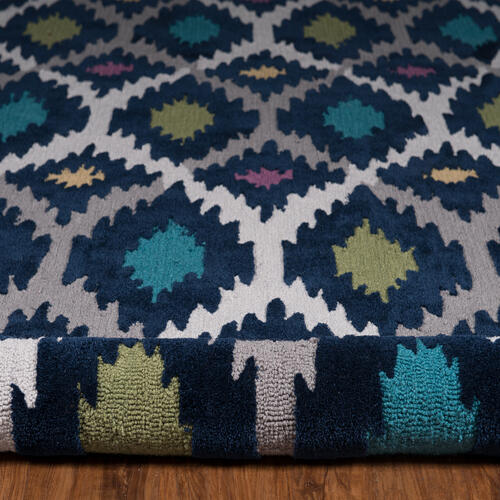 Trio Ikat Blue/multi 5ft X 7ft