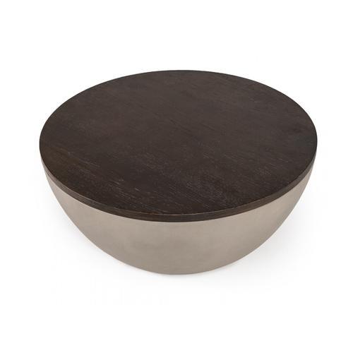 VIG Furniture - Modrest Marie Modern Concrete & Brown Oak Round Coffee Table