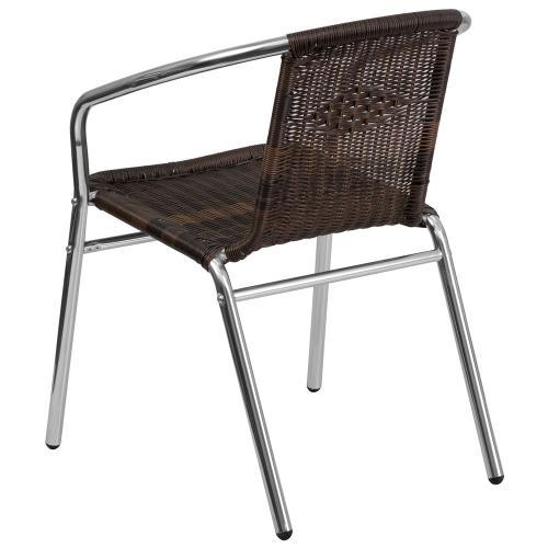 Commercial Aluminum and Dark Brown Rattan Indoor-Outdoor Restaurant Stack Chair