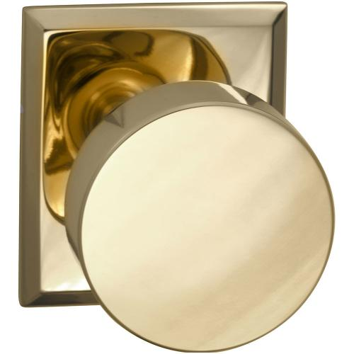 Interior Modern Knob Latchset with Rectangular Rose in (US3 Polished Brass, Lacquered)