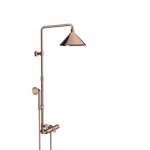 Polished Red Gold Showerpipe with thermostat and overhead shower 240 2jet