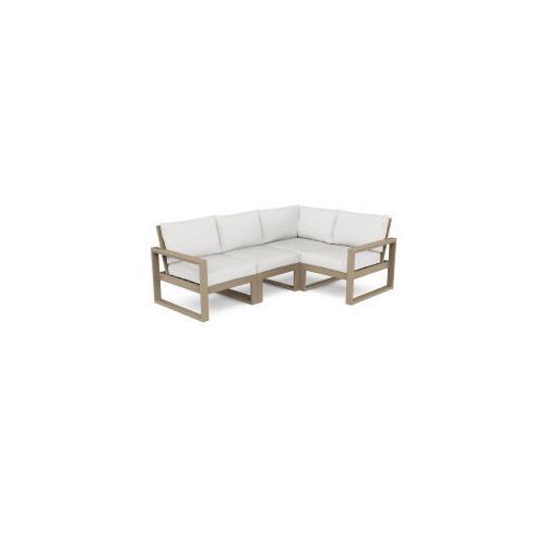 Polywood Furnishings - EDGE 4-Piece Modular Deep Seating Set in Vintage Sahara / Natural Linen