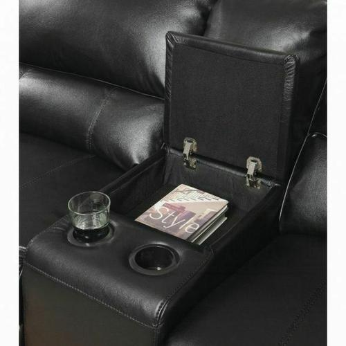 ACME Saul Sectional Sofa (Power Motion/USB Dock) - 54150 - Black Leather-Aire