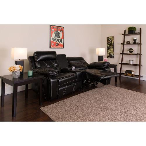 Alamont Furniture - 2-Seat Reclining Black Leather Theater Seating Unit with Curved Cup Holders