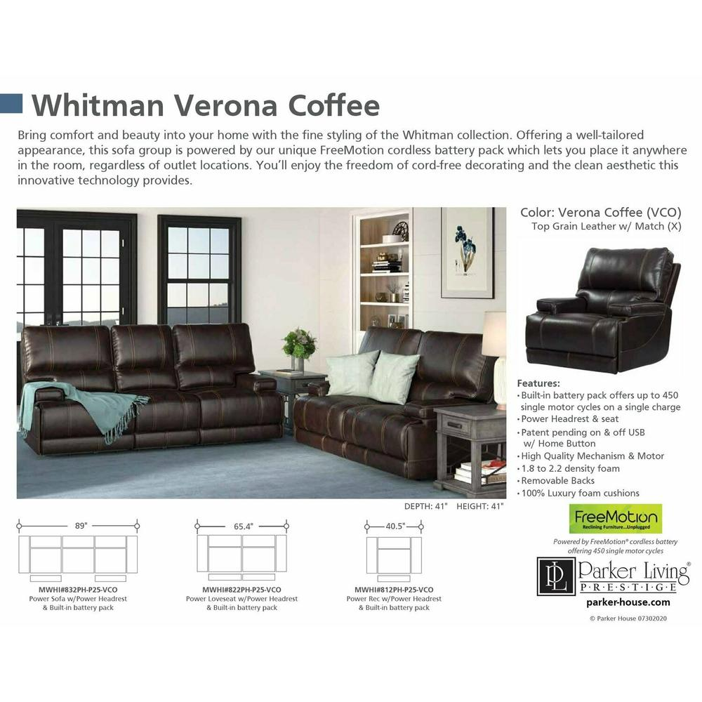 WHITMAN - VERONA COFFEE - Powered By FreeMotion Power Cordless Sofa