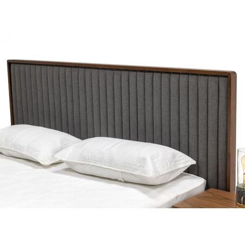 VIG Furniture - Nova Domus Metcalf - Mid-Century Walnut & Grey Bed w/ Two Nightstands