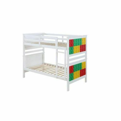 ACME Playground Twin/Twin Bunk Bed - 37780 - White & Multi-Color