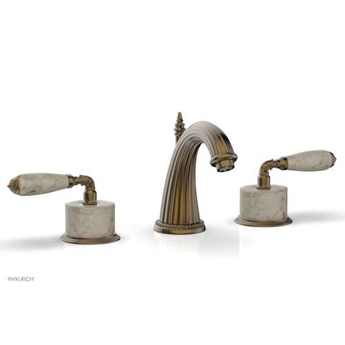 VALENCIA Widespread Faucet Beige Marble K338D - Antique Brass