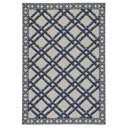 "Finesse-Bamboo Trellis Navy - Rectangle - 3'11"" x 5'6"""