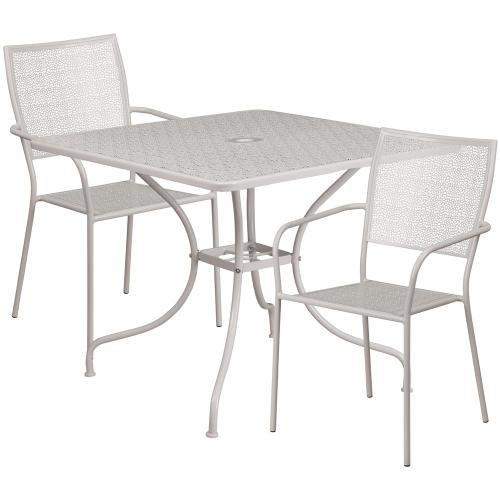 35.5'' Square Light Gray Indoor-Outdoor Steel Patio Table Set with 2 Square Back Chairs