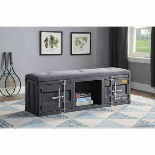 ACME Cargo Bench (Storage) - 35927 - Gray Fabric & Gunmetal