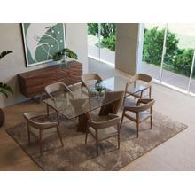 View Product - Modrest Corbin Modern Walnut & Glass Dining Table