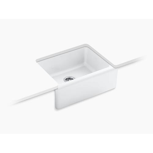 "White 25-1/4"" X 22"" X 8-5/8"" Undermount Single-bowl Farmhouse Kitchen Sink With 5 Oversize Faucet Holes"