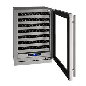"""24"""" Wine Refrigerator With Stainless Frame Finish and Left-hand Hinge Door Swing (115 V/60 Hz Volts /60 Hz Hz)"""