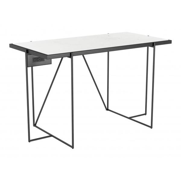 Winslett Marble Desk White & Matte Black