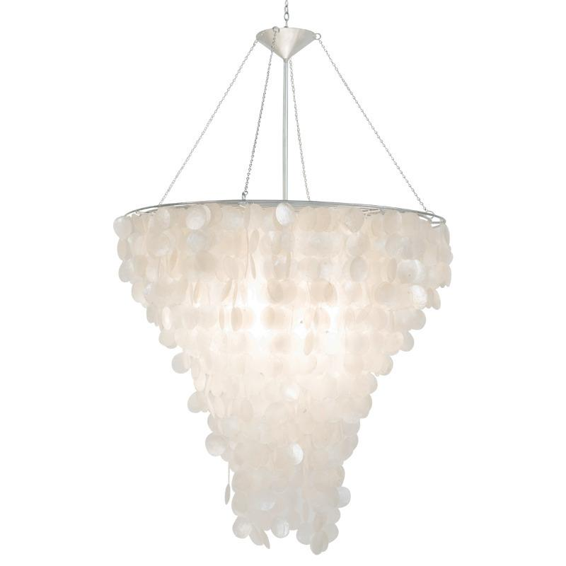 Row After Row of Glittering Capiz Shells Dangle Like Exquisite Jewels From This Gorgeous Chandelier, Catching the Light In A Spectacular Display. Adds Glamour and Polish To Any Space.