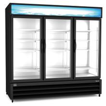 Refrigeration Equipment Merchandiser Freezer, 72 cu.ft, 3 Glass Door, black (R404a)
