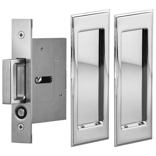Product Image - Passage Pocket Door Lock with Traditional Rectangular Trim featuring Mortise Edge Pull in (US26 Polished Chrome Plated)
