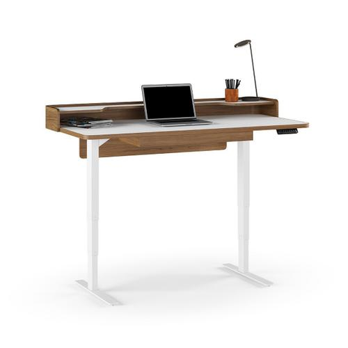 6752 Lift Standing Desk 62x31 in Natural Walnut Satin White
