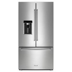 """Kitchenaid  23.8 cu. ft. 36"""" Counter-Depth French Door Platinum Interior Refrigerator with PrintShield™ Finish - Stainless Steel with PrintShield™ Finish"""