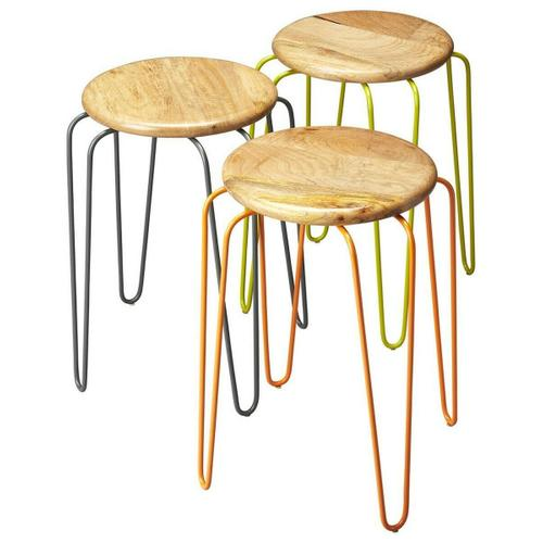 Butler Specialty Company - This set of stackable iron stools is both stylish and highly functional. Each stool has a solid mango wood seat with forged iron legs, and features complementary powder-coated color finishes of orange, grey and lime green. Best of all, the stools conveniently stack to minimize space.