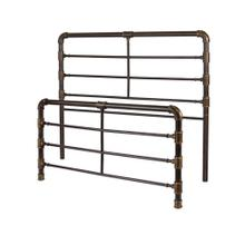 See Details - Everett Metal Headboard and Footboard Bed Panels with Industrial Pipe Design, Brushed Copper Finish, Queen