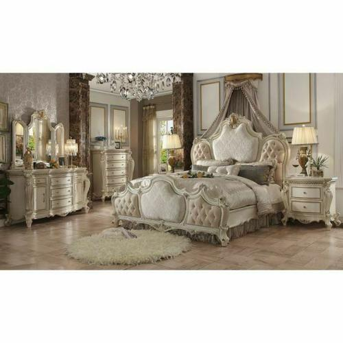 ACME Picardy Eastern King Bed - 26877EK - Fabric & Antique Pearl
