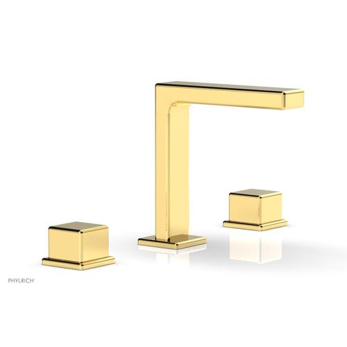 """MIX Widespread Faucet - Cube Handles 6-3/4"""" Height 290-04 - Polished Gold"""