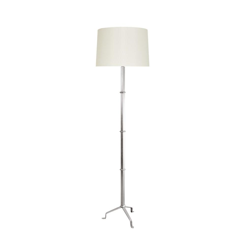 Sitting Solidly On Three Beautifully Silvered Legs, the Modern Alvaro Pennyfoot Floor Lamp Stands Tall In Any Room. Durable Iron Base Finished In Brilliant Silver Leaf and Topped With A Lovely Cream Silk Shade.