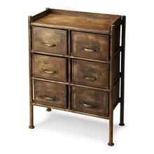 The Cameron chest is made entirely of iron. The industrial chic metalworks finish adds style to your space while the six pull out drawers offer ample storage to tuck away all your necessities. The crackle finish makes this chest seem as if it's been part of your home for centuries.
