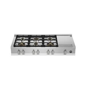 Bertazzoni48 Gas Rangetop 6 brass burners + electric griddle Stainless Steel