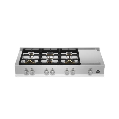 48 Gas Rangetop 6 brass burners + electric griddle Stainless Steel