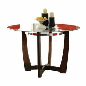 ACME Baldwin Dining Table - 07815 - Walnut & Clear Glass