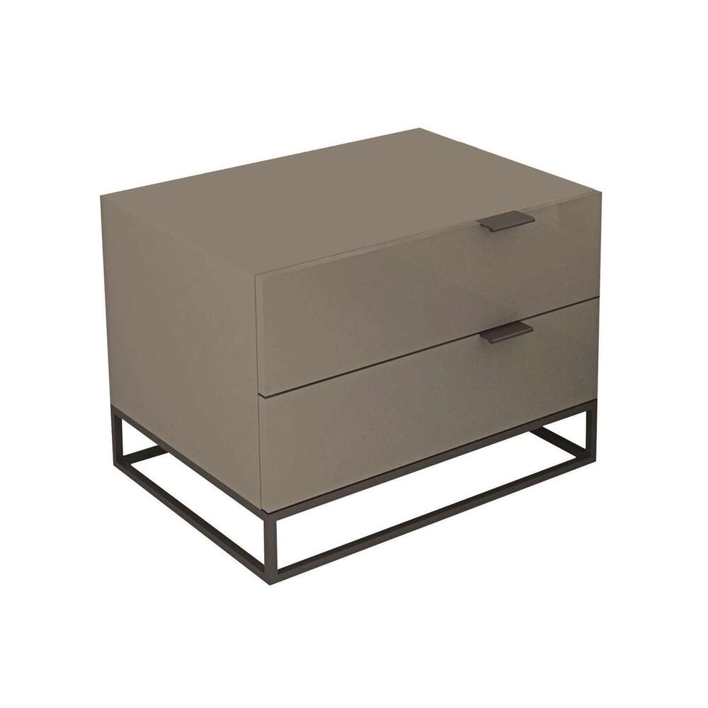 The Vizzione Nightstand In High Gloss Taupe Lacquer With Black Base
