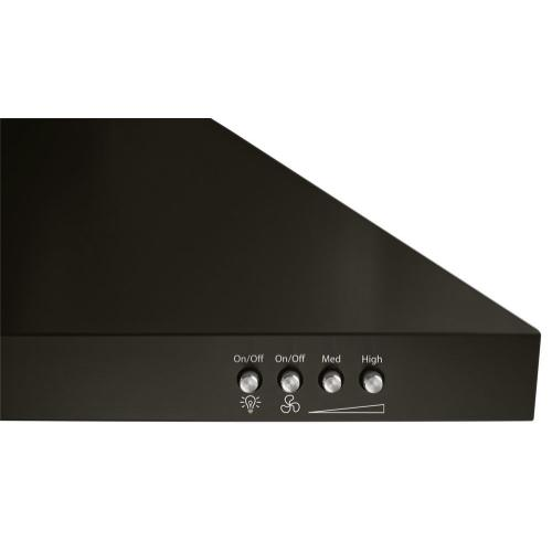"""Product Image - 36"""" Contemporary Black Stainless Wall Mount Range Hood"""