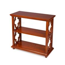 See Details - With its open quatrefoil sides, two shelves and open back, this timeless, classic bookcase brings heirloom appeal to the office or living room. Features an striking Olive Ash Burl finish.