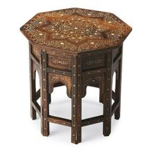 This distinctive octagonal accent table will stylishly enhance your space. Featuring a Wood & Bone Inlay Finish, it is hand crafted from mango wood solids, bone.