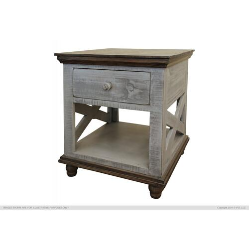 1 Drawer, End Table, Gray finish