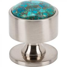 View Product - FireSky Mohave Blue Knob 1 3/8 Inch Brushed Satin Nickel Base Brushed Satin Nickel