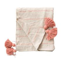 """Product Image - 60""""L x 50""""W Woven Recycled Cotton Throw with Stripes & Tassels, Pink"""