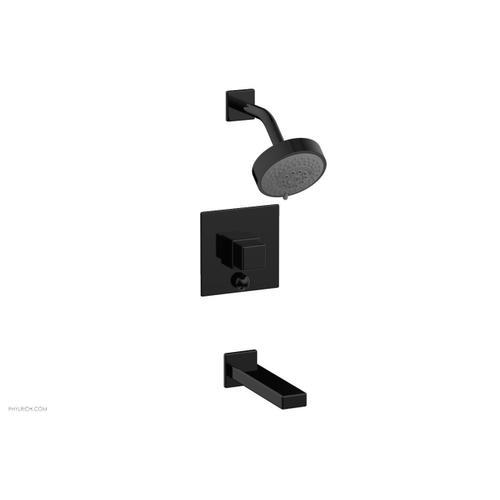 MIX Pressure Balance Tub and Shower Set - Cube Handle 290-29 - Gloss Black
