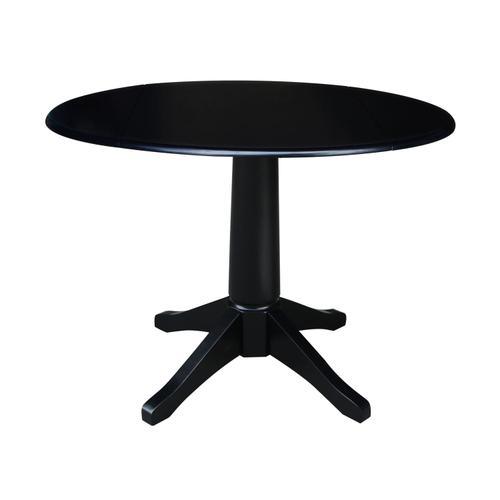 John Thomas Furniture - Round Dropleaf Pedestal Table in Black